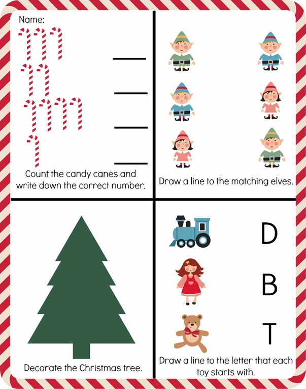 Free Pre-K Christmas Worksheet Printable