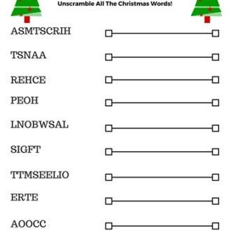 Free Printable Christmas Word Jumble for Holiday Fun