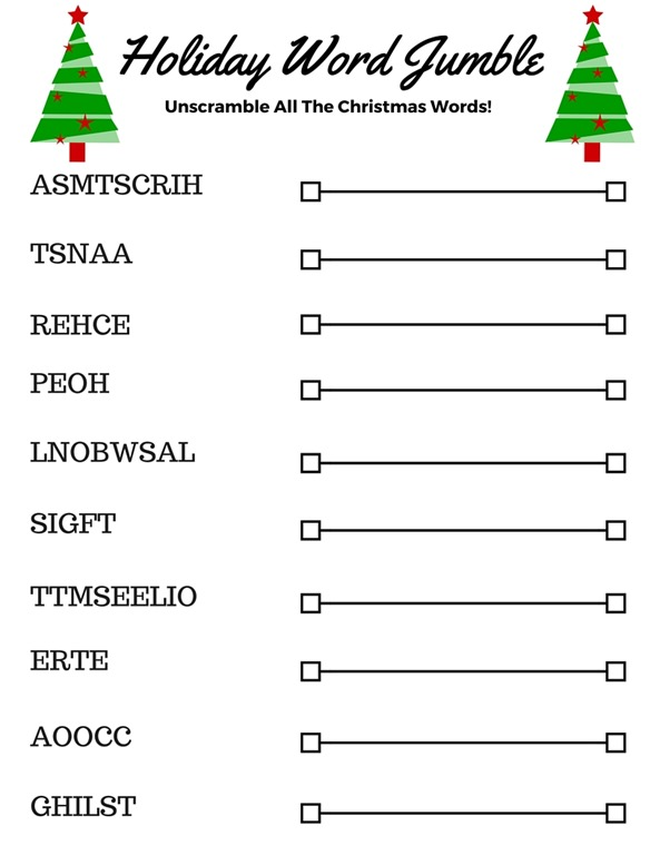 This is a photo of Bright Holiday Word Scramble Printable