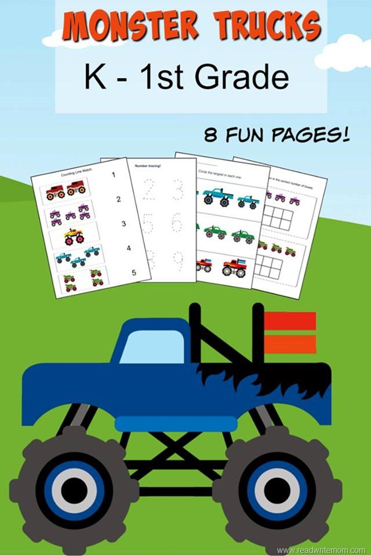 Monster Truck K 1st Grade Printable Learning Pack