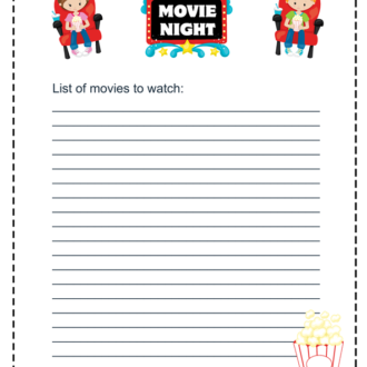 Keep A List of Movies to Watch With a Printable Movie Night Checklist
