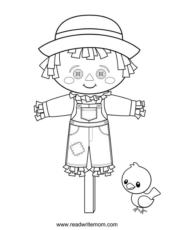 scarecrow coloring pages printable - free printable fall coloring pages for kids