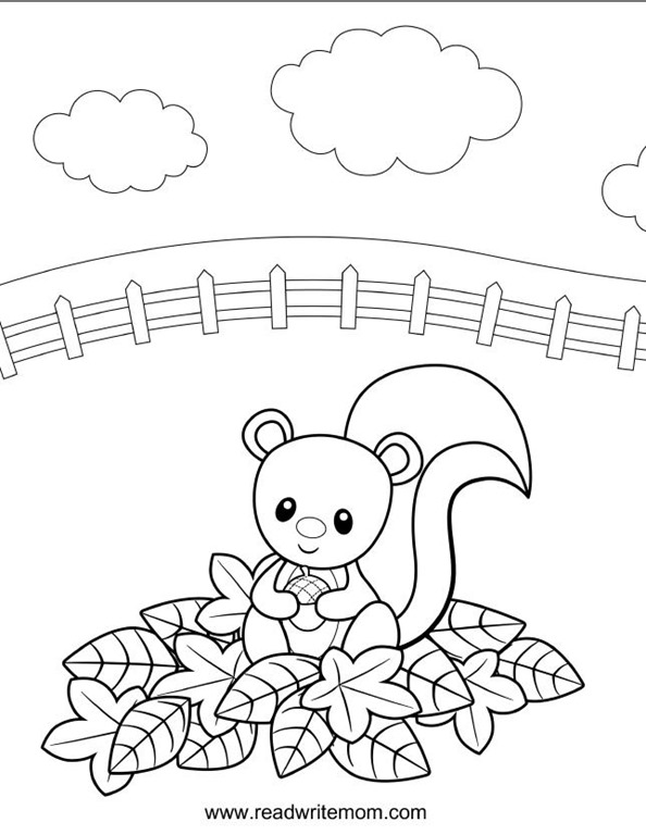 fall squirrel coloring page