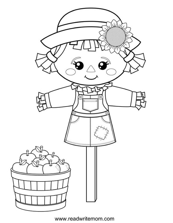 Free printable fall coloring pages for kids for Printable scarecrow coloring pages